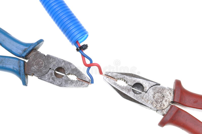 Combination pliers with electrical wire royalty free stock photos