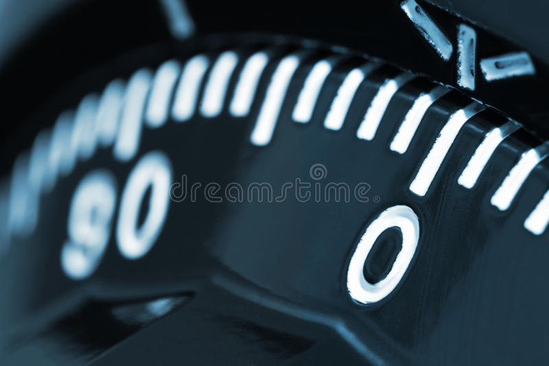 Combination safe lock. Closeup of combination safe lock with number zero on focus stock image