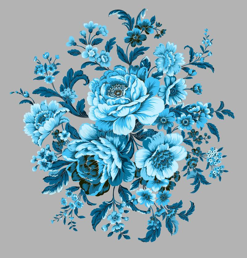 A round bouquet of blue peonies. A combination of small flowers made by computer vector illustration