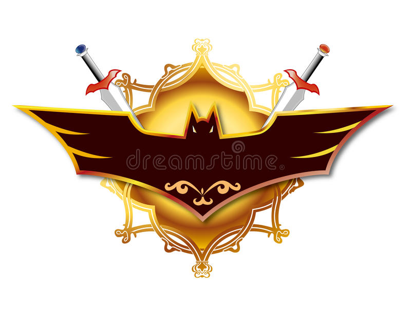 Combination of sword and bat royalty free illustration