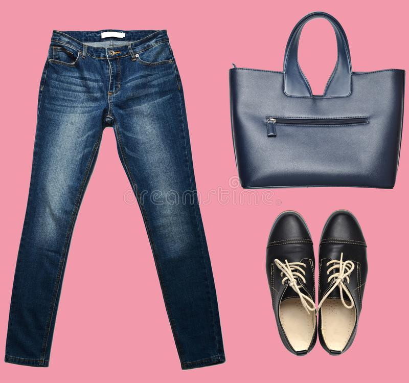 combination of women& x27;s clothing, shoes, accessories on a pastel background. Fashion look. minimalism. Isolated objects. royalty free stock photo