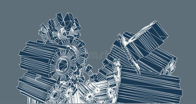 Combinazione degli oggetti della ruota dentata 3d royalty illustrazione gratis