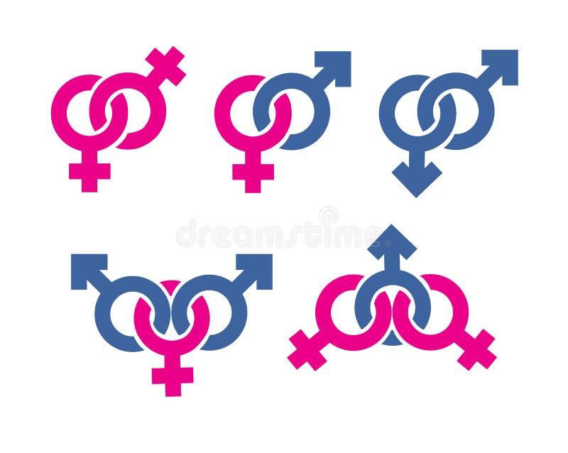 Combinazione maschio e femminile di simboli illustrazione vettoriale
