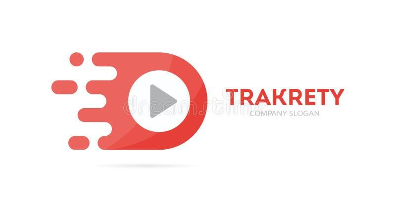 Combinazione veloce di logo del tasto di riproduzione di vettore Simbolo o icona del record di velocità Audio e video modello uni illustrazione di stock