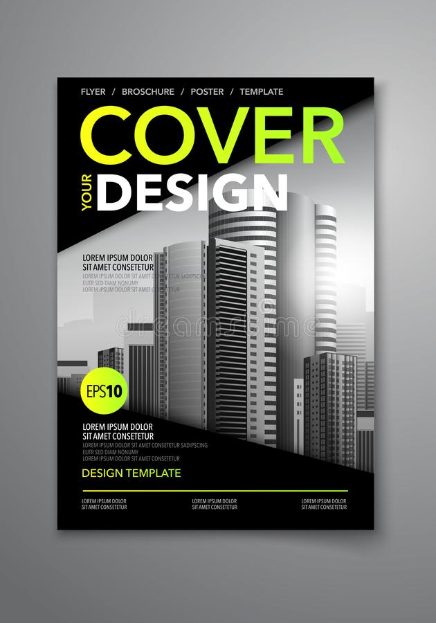 Combinazioni colori del nero di vettore con il modello di progettazione della copertina di libro di affari del fondo della città  royalty illustrazione gratis