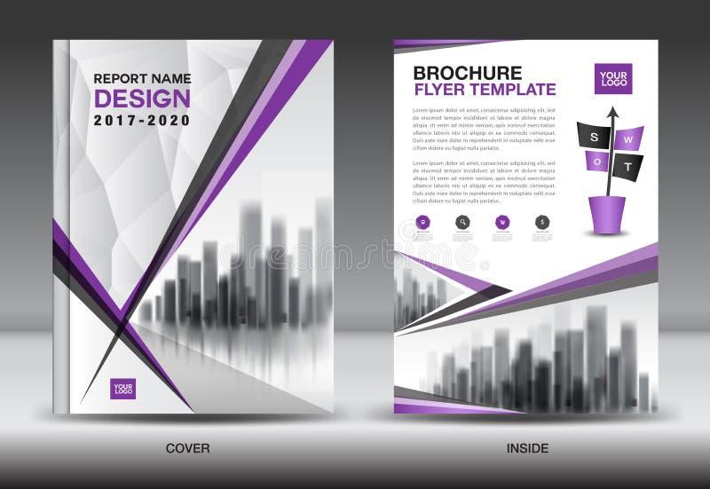 Combinazioni colori porpora con il DES della copertina di libro di affari del fondo della città illustrazione vettoriale