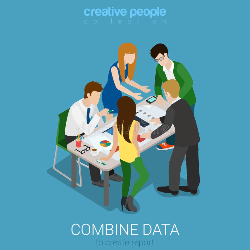Combine data to create graphic report flat 3d vector isometric vector illustration