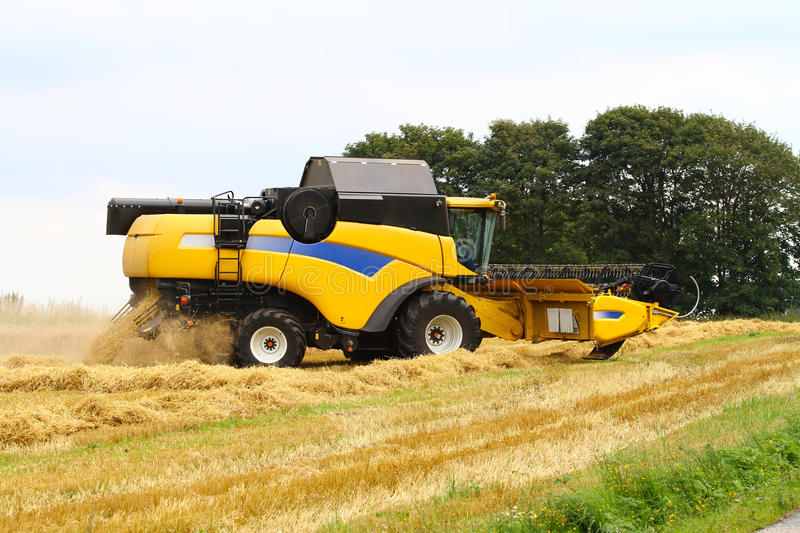 Combine harvester. Yellow combine harvester on a field, harvesting rye royalty free stock image