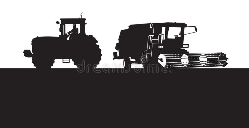 Combine harvester. And tractor silhouette vector illustration