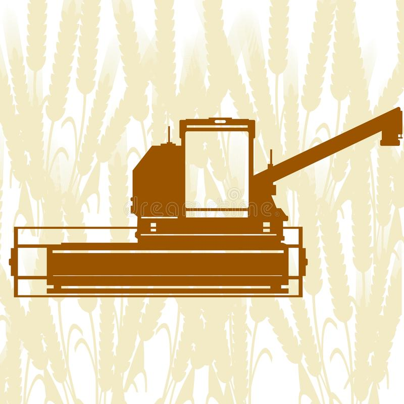 Combine Harvester-3. Agricultural machinery. Combine harvester on background of cereal ears vector illustration
