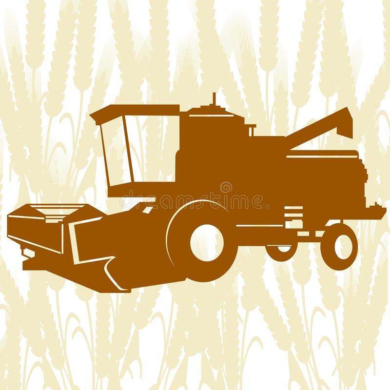 Combine Harvester-4. Agricultural machinery. Combine harvester on background of cereal ears vector illustration