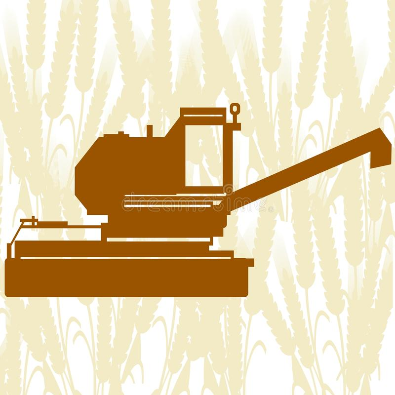 Combine Harvester-5. Agricultural machinery. Combine harvester on background of cereal ears stock illustration