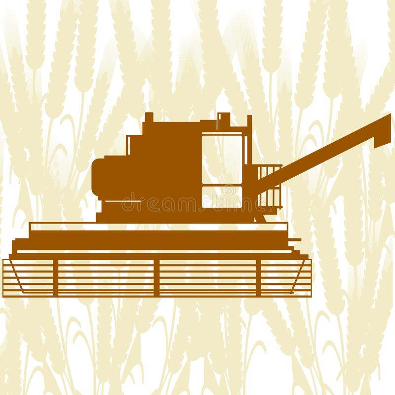 Combine Harvester-6. Agricultural machinery. Combine harvester on background of cereal ears royalty free illustration
