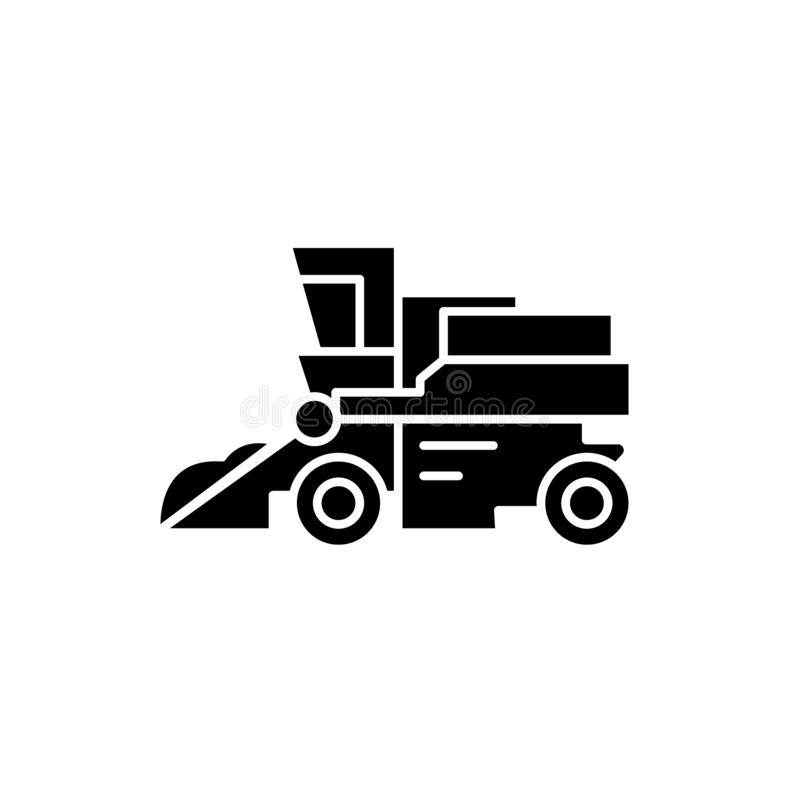 Combine harvester black icon, vector sign on isolated background. Combine harvester concept symbol, illustration royalty free illustration