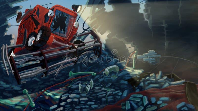 Combine Harvester. Broke a wall made of bricks. Digital background raster illustration stock illustration
