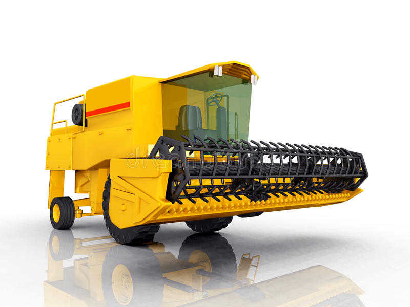 Combine Harvester. Computer generated 3D illustration with a combine harvester against a white background stock illustration
