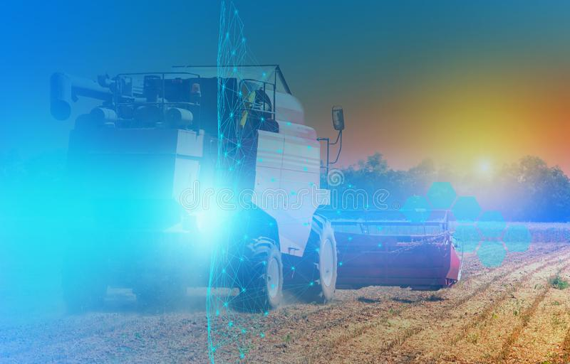 Combine harvester control using artificial intelligence, an abstract view of future technologies and connections. royalty free stock image
