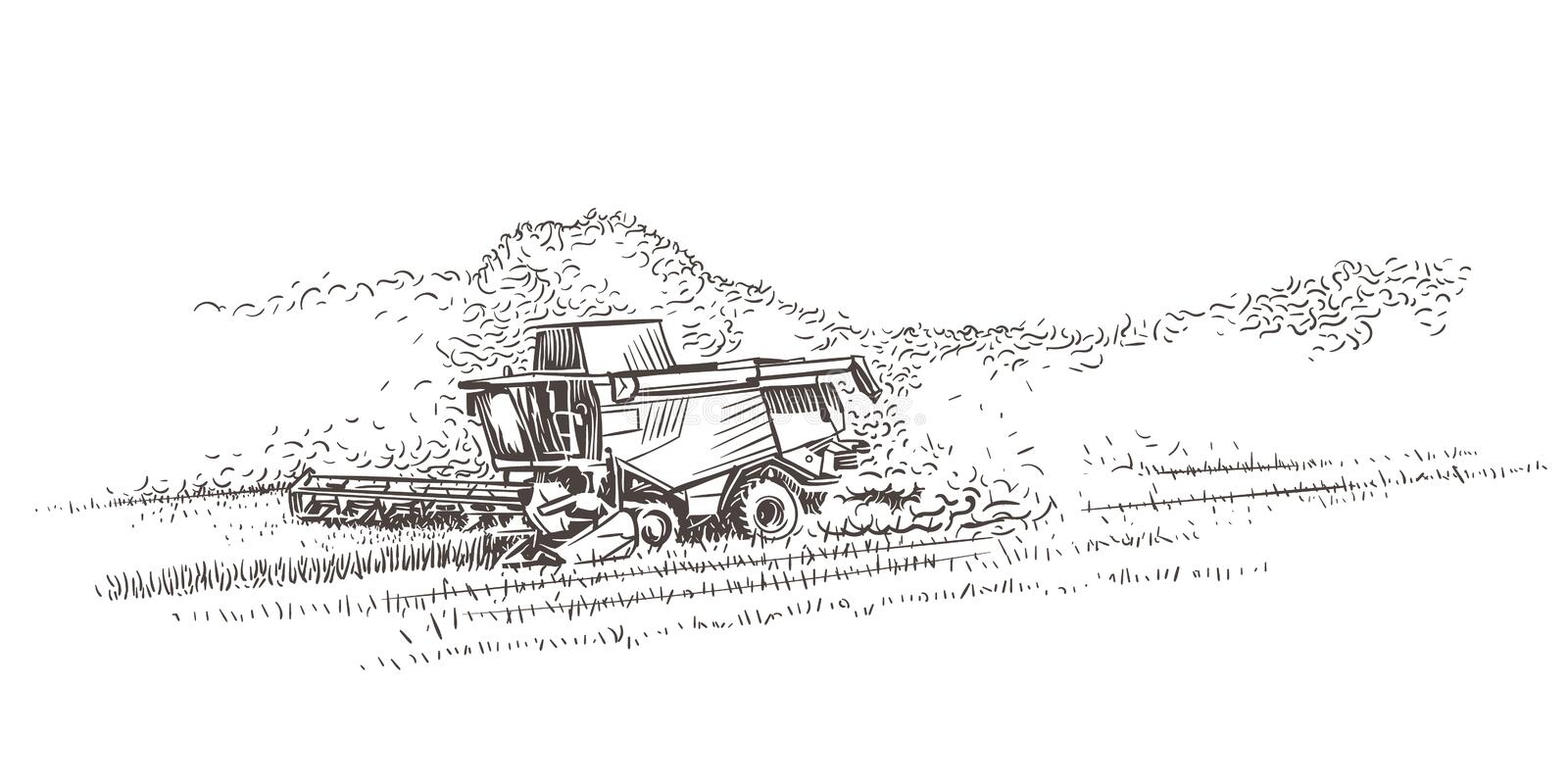 Combine Harvester in the field. Vector royalty free illustration