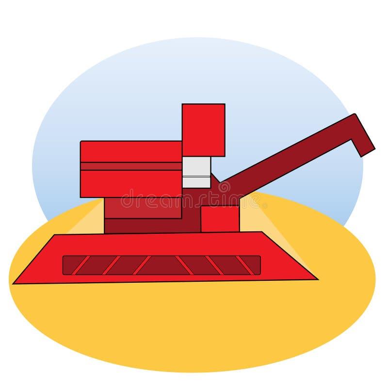 Combine harvester in the field. Illustration of a combine harvester in a field against a blue sky stock illustration