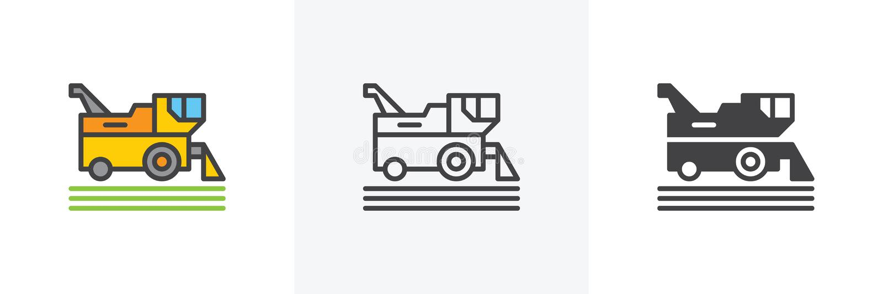 Combine harvester icon. Line, glyph and filled outline colorful version, harvesting machine outline and filled vector sign. Symbol, logo illustration stock illustration