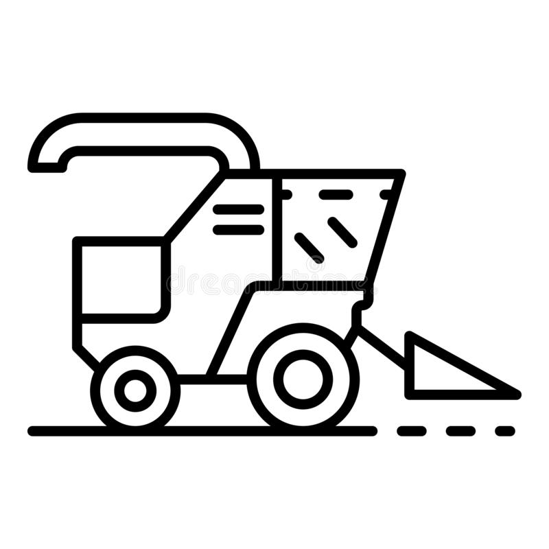 Combine harvester icon, outline style vector illustration