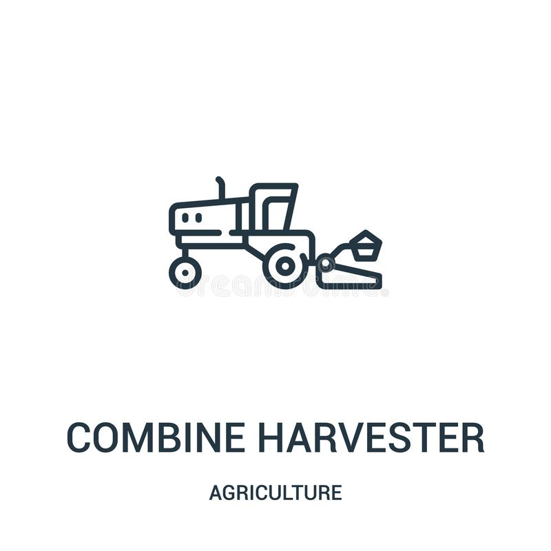 combine harvester icon vector from agriculture collection. Thin line combine harvester outline icon vector illustration. Linear vector illustration