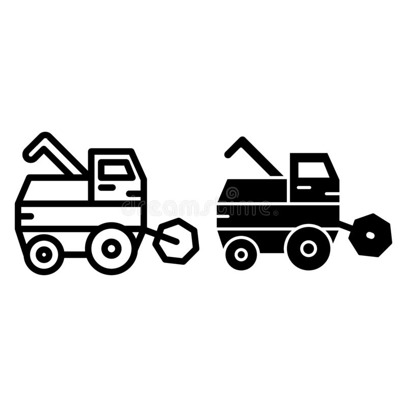 Combine harvester line and glyph icon. Gathering harvest vector illustration isolated on white. Agricultural outline vector illustration