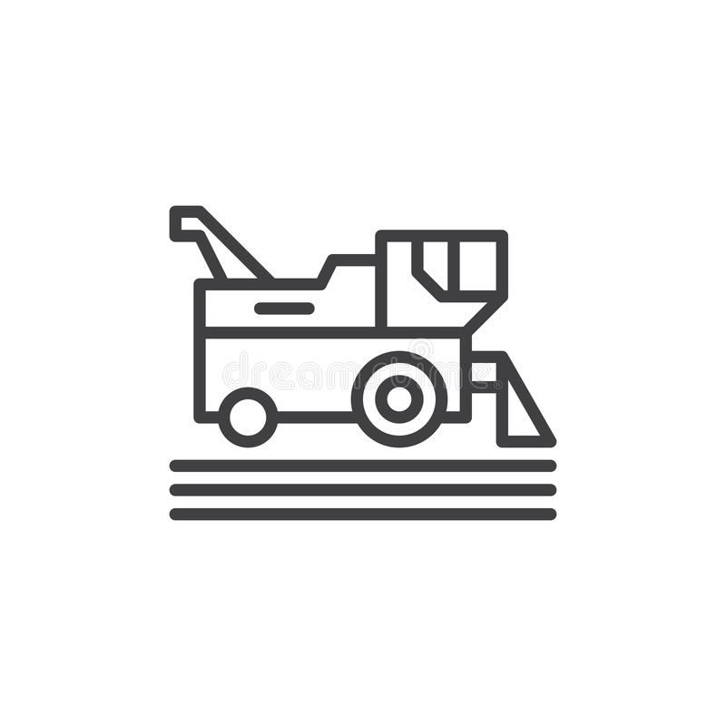 Combine harvester line icon, outline vector sign, linear style pictogram isolated on white. Symbol, logo illustration. Editable st vector illustration