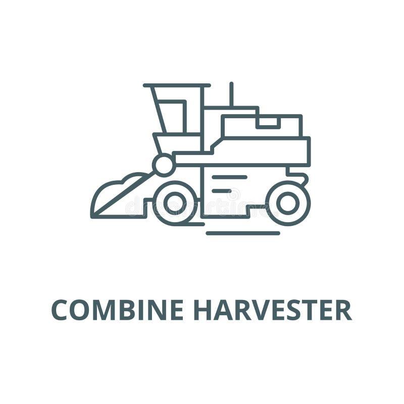 Combine harvester line icon, vector. Combine harvester outline sign, concept symbol, flat illustration vector illustration