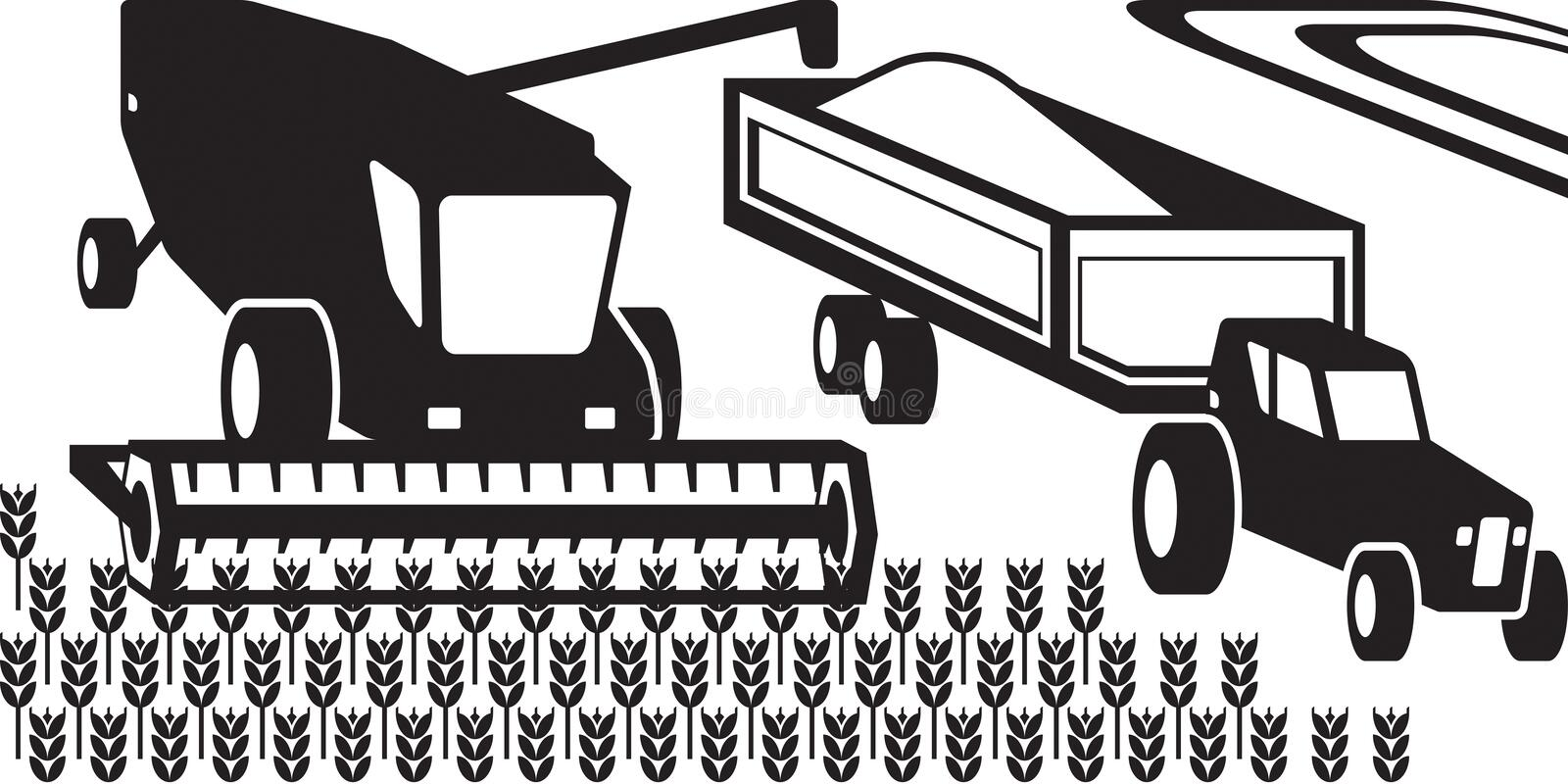 Combine harvester and tractor in the field. Vector illustration stock illustration