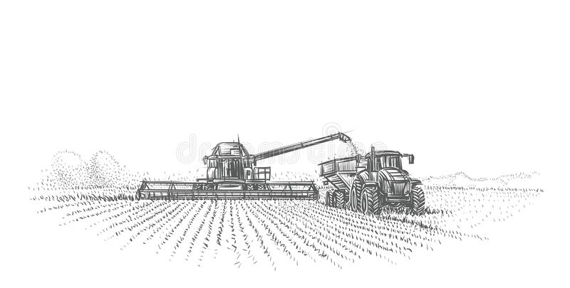 Combine Harvester and tractor working in field illustration. Vector. stock illustration