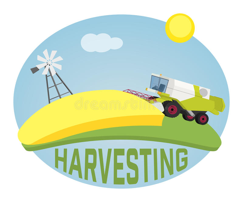 Combine harvester on a wheat field against sun. Farm rural landscape, vector background stock illustration