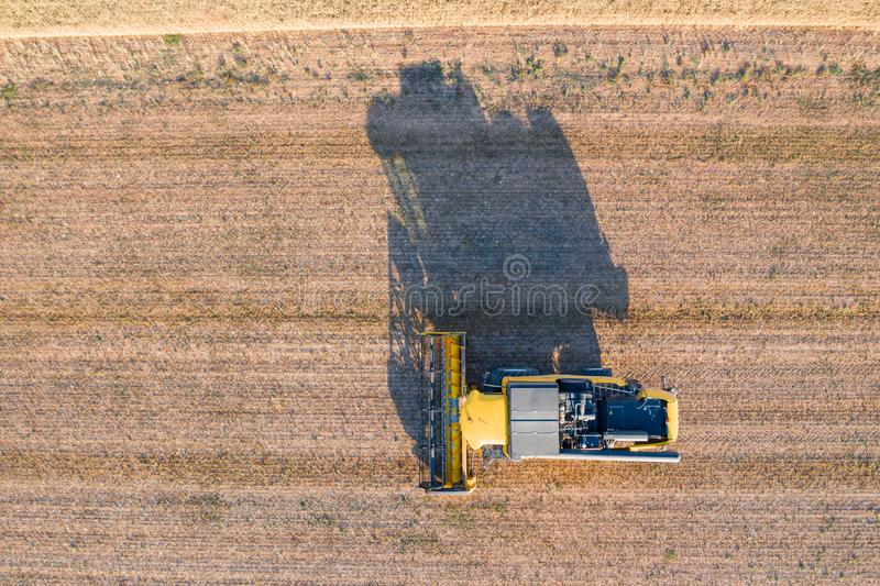 Combine harvester working in the large wheat field, seen from the air stock photos