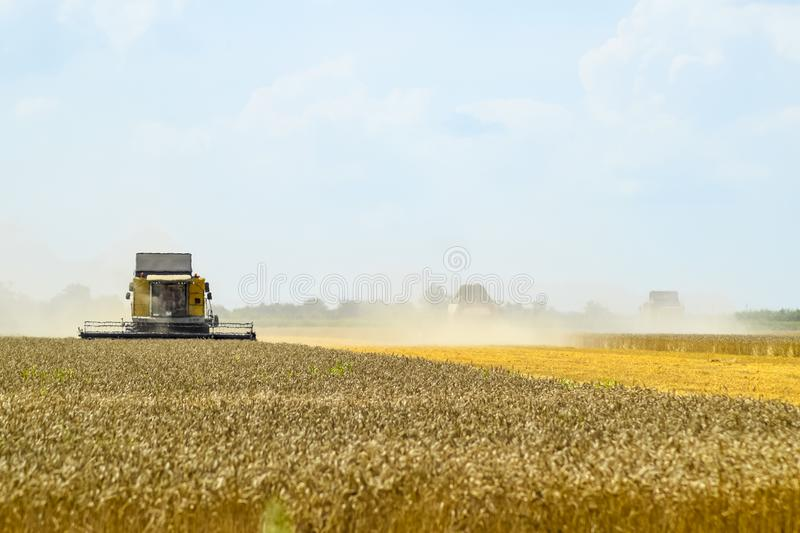 Combine harvesters. Agricultural machinery. Combine harvesters Agricultural machinery. The machine for harvesting grain crops royalty free stock image