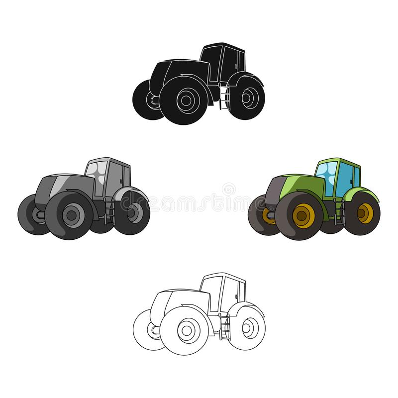 Combine harvesting .Green tractor with large wheels. Agricultural equipment for farmers.Agricultural Machinery single. Icon in cartoon,black style vector symbol royalty free illustration