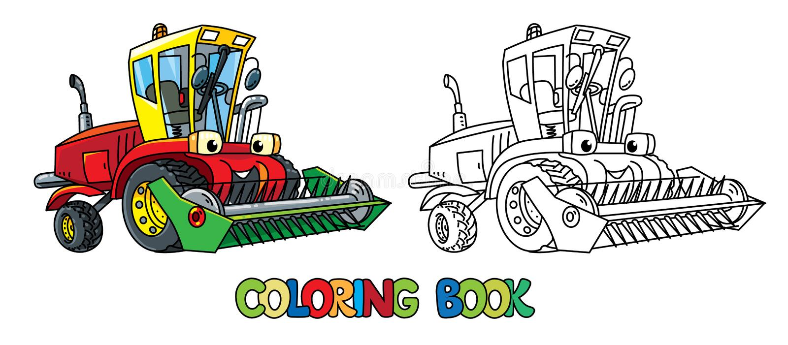 Combine or lawn mower with eyes coloring book. Combine harvester or lawn mower coloring book for kids. Small funny vector cute car with eyes and mouth. Children royalty free illustration