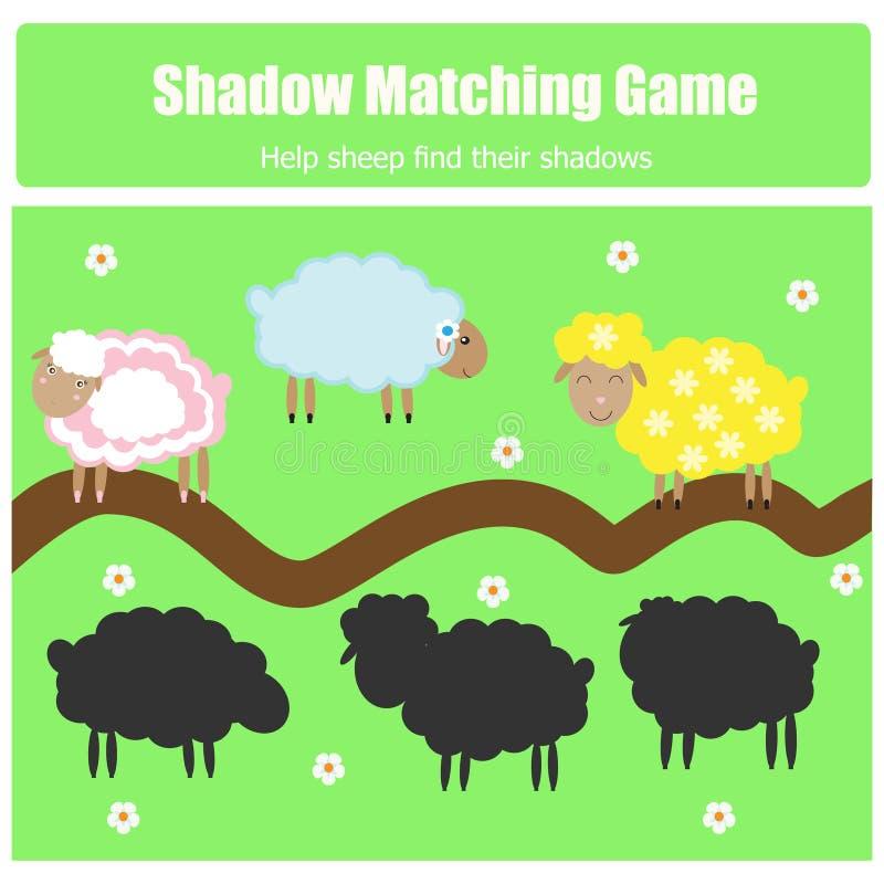 Combine o jogo das crianças da sombra ilustração royalty free
