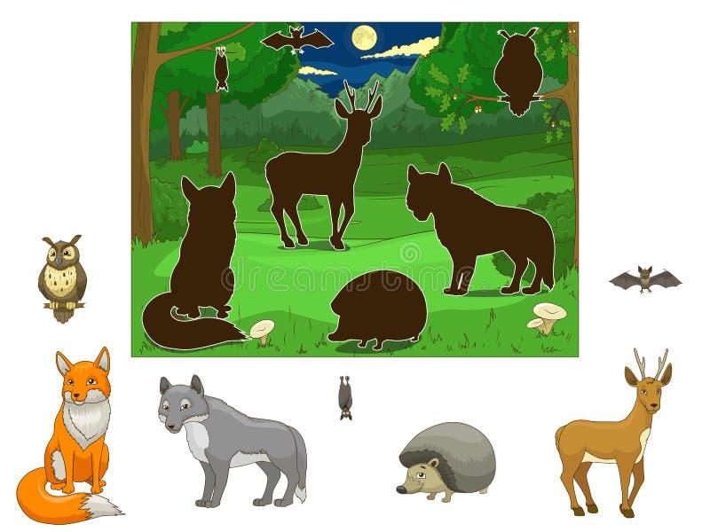 Combine os animais a suas sombras ilustração do vetor