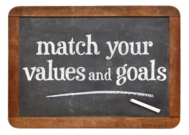 Combine seus valores e objetivos fotos de stock royalty free