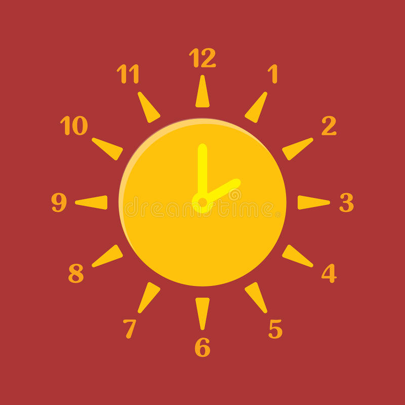 Combined clock and sun. Summer time concept. Vector illustration stock illustration