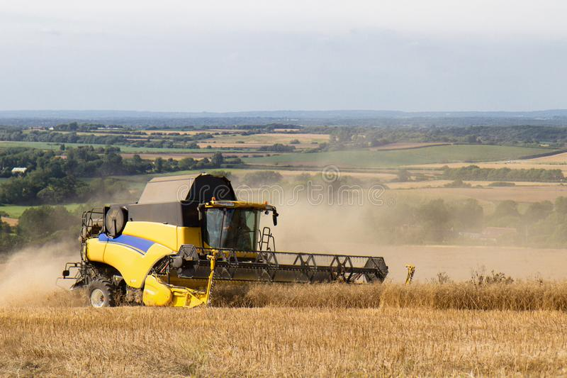 Combined Harvester, Wilmington, East Sussex, UK. A combined harvester at work in a wheat field, the South Downs, East Sussex stock photo