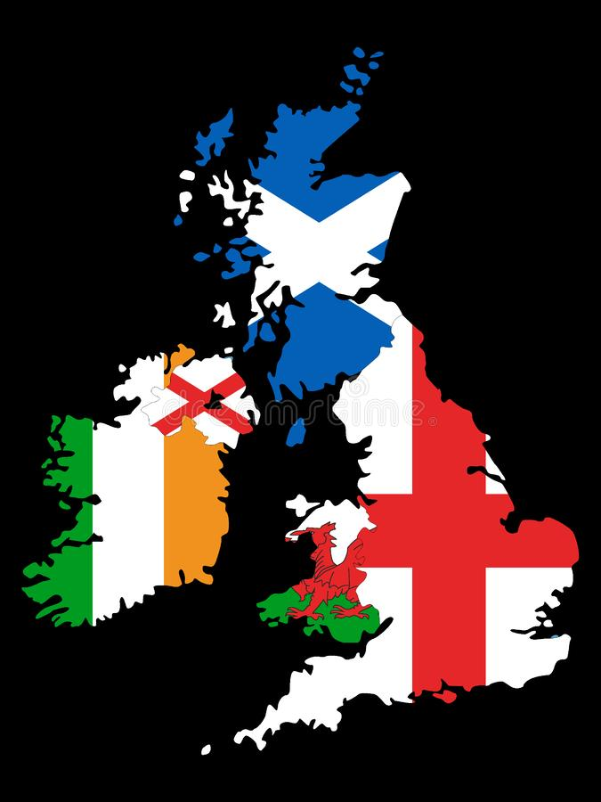 Combined Maps and Flags of United Kingdom and Ireland on Black Background. Vector Illustration of the Combined Maps and Flags of United Kingdom and Ireland on stock illustration