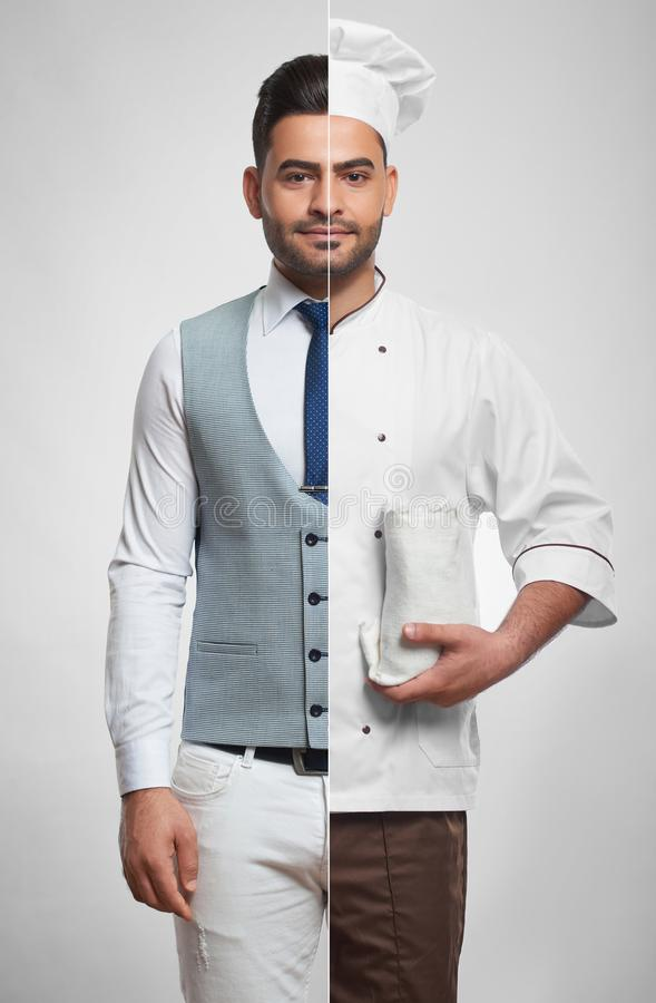 Combined photo of a businessman and chef. Combined studio shot of a businessman and a chef posing confidently profession occupation lifestyle cooking small stock photo