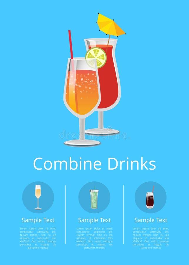 Combineer Drankenaffiche met Limonade in Glasstro royalty-vrije illustratie