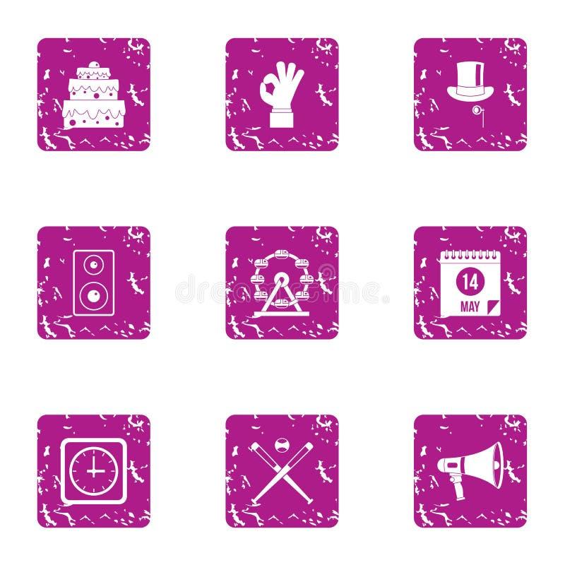 Combineer geplaatste pictogrammen, grunge stijl royalty-vrije illustratie