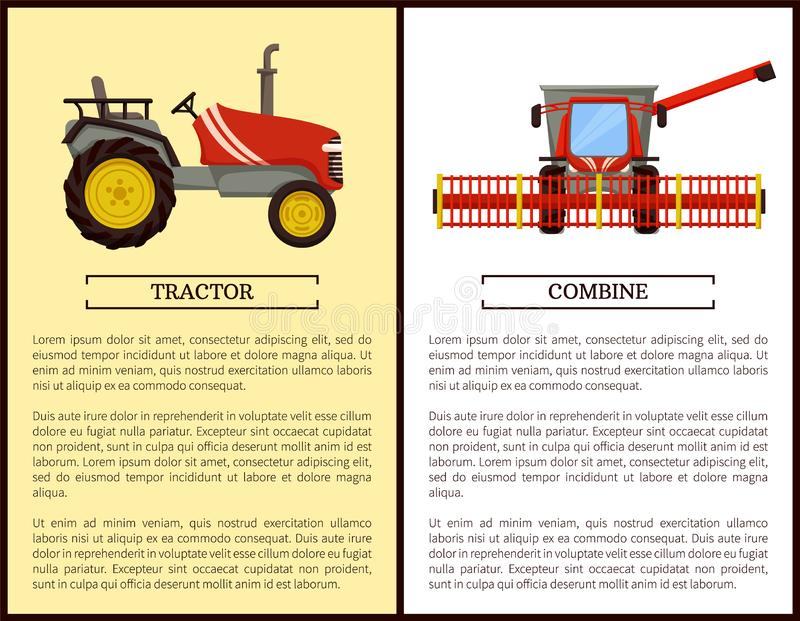 Combineer Landbouwmachine Vectorillustratie stock illustratie