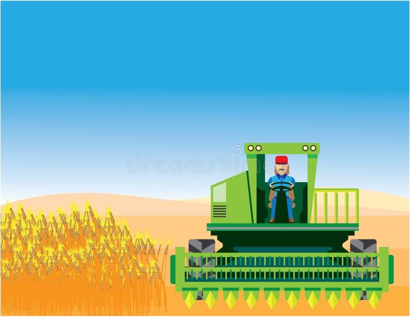 Combineer maait en oogst gewassenvector stock illustratie