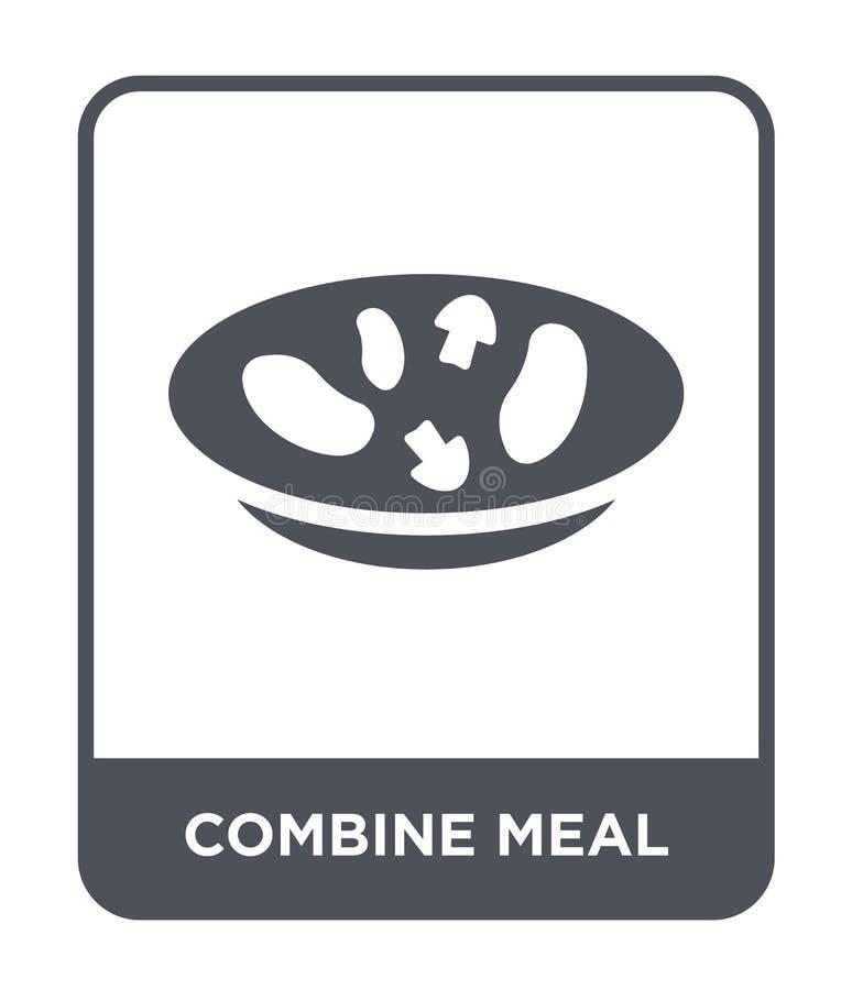 combineer maaltijdpictogram in in ontwerpstijl combineer maaltijdpictogram op witte achtergrond wordt geïsoleerd die combineer ee stock illustratie