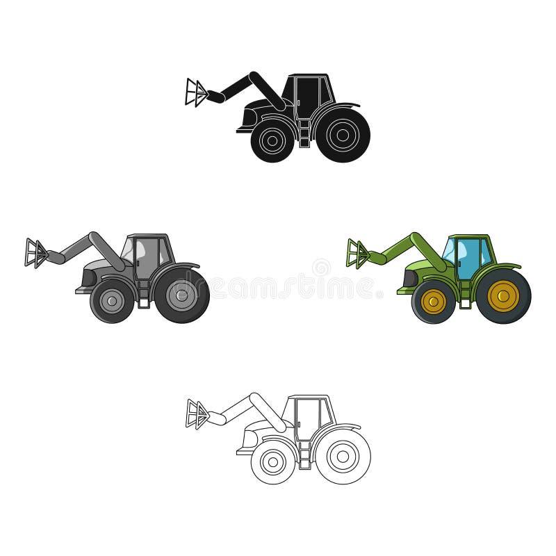 Combineer met lange hydraulische benen om het hooi te vangen Landbouwmachines enig pictogram in beeldverhaal, zwarte stijlvector stock illustratie
