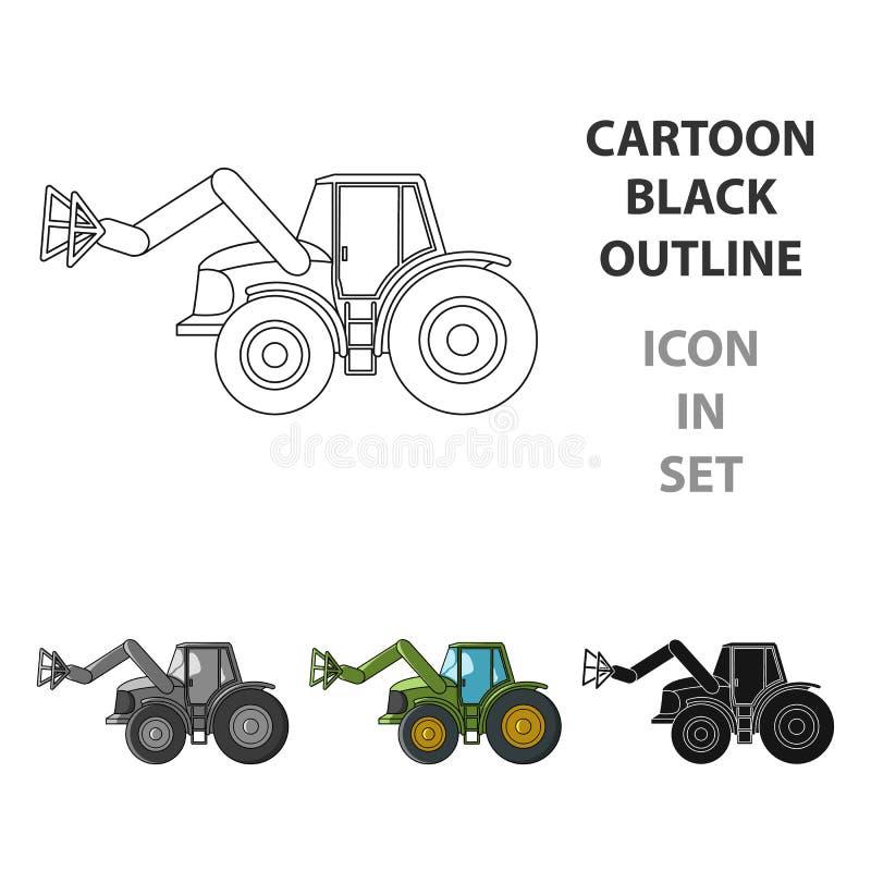 Combineer met lange hydraulische benen om het hooi te vangen Landbouwmachines enig pictogram in het vectorsymbool van de beeldver stock illustratie